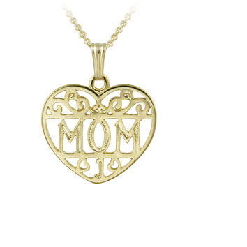 14K Gold Filled Filigree Heart Mom Necklace