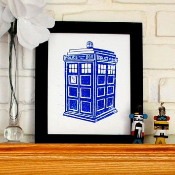 Doctor Who TARDIS Block Print Poster 8 x 10 inches by CursiveArts