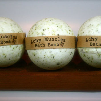 3 Achy Muscles Bath Bombs, Aromatherapy Bath Bomb, Set of 3, All Natural Bath Bomb Fizzy