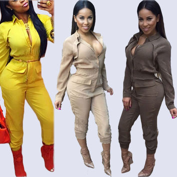 Rompers Women Jumpsuit 2015 Sexy Deep V-neck Bandage Jumpsuits Fake Two-piece Long Sleeve V neck Elegant Bodysuit Plus Size