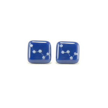 Cassiopeia constellation square glass stud earrings, dark indigo blue and white, contemporary design, celestial astronomy jewelry for her