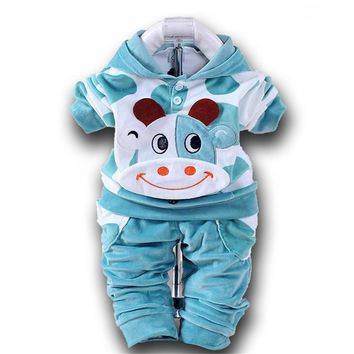 Winter Baby Clothing Set Cows Velvet Print Hooded + Pants Newborn Baby Clothes Christmas Infant Babies Bebe for Newborns Costume