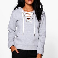Sue Premium Lace Up Hoody | Boohoo