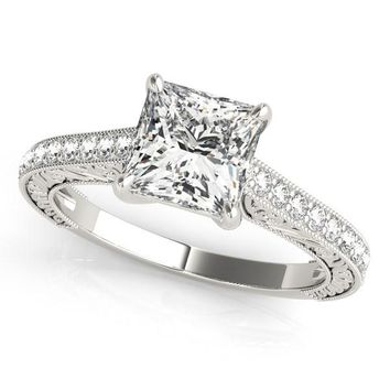 14K White Gold Princess Cut Single Row Band Diamond Engagement Ring (1 1/4 ct. tw.)