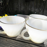 3 Vintage Fire King White & Gold Teacups - Mid Century Tea Service