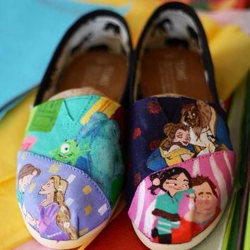 Disney Characters Monsters Inc Tangled Wreck It Ralph Beauty n Beast Painted TOMS or V
