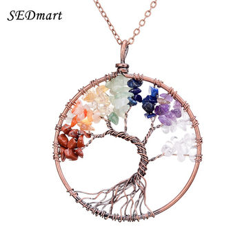SEDmart 7 Chakra Tree Of Life Pendant Necklace Copper Rose Quartz Turquoise Crystal Natural Stone Necklace Women Christmas Gift