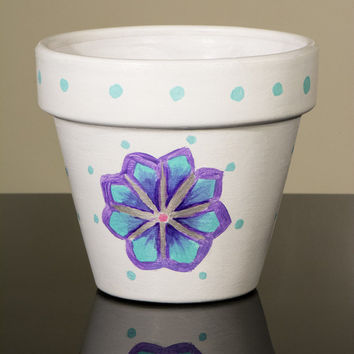 "Hand Painted Flower Pot- 6 Inch Terracotta Pot ""Abstract Flowers"", Birthday, Housewarming, Wedding, Christening Gift- Made to Order"