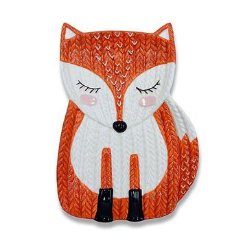 Knit-effect Fox-shaped Side Plate | Home & Garden | George