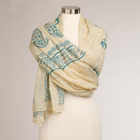 Ivory and Teal Prayer Shawl - World Market