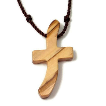 Olive Wood Cross Necklace for Men, Certified Bethlehem Holy Land Cross Pendant with Hand Knotted Black Nylon Cord, Wooden Cross Necklace