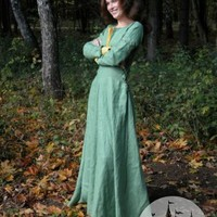 Medieval natural custom-sized fantasy flax linen dress :: ArmStreet