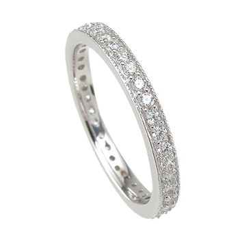 925 Sterling Silver Wedding Band 1 Carat Weight- Size 7