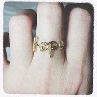 Christmas Sale!Coupon Code 20OFF! handmade Hope ring Wire wrap hope ring wire jewelry Adjustable Gold wire hope ring personalized custom