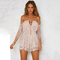 Deep V-Neck Lace Short Sleeve Mini Dress