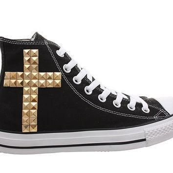 studded converse converse black high top with gold cross pattern by customduo