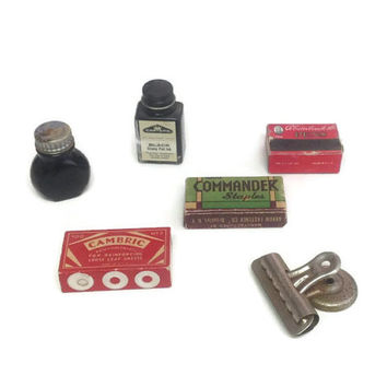 Vintage Office Supply Display, Desk Accessories, Ink, Vintage Office Supply Boxes, Bottles, Boston Clip