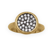 Textured 14 Karat Gold Plated CZ Ring