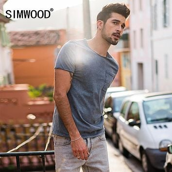 New Summer T Shirts Men Pure Cotton Pocket Breton Top Casual Slim Fit High Quality Clothing