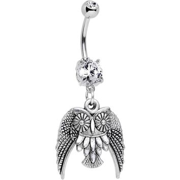 Handmade Clear Owl Dangle Belly Ring Created with Swarovski Crystals