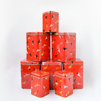 Large Vintage Tin Box Lot / Cute Red Soviet Kitchen Storage Tins, Circa 1980's / Instant Collection