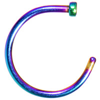 "18 Gauge 3/8"" Rainbow Anodized Titanium Nose Hoop 