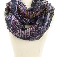 MIXED PAISLEY PRINT INFINITY SCARF