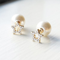 Star and Pearl Double Sided Earring, Double Sided Pearl Earring, Double Pearl Earrings, Front Back Earring, Double Sided Stude Earrings