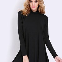 Fall Fashion Black Long Sleeve Casual Dress