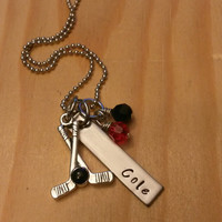 Hand Stamped Hockey Necklace Hockey Mom Necklace with Hockey Team Colors