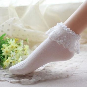 Fashionable Lovely Cute Fashion Women Vintage Lace Ruffle Frilly Ankle Socks Lad