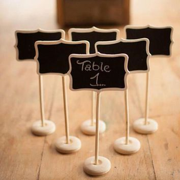 5PCS  Mini Wood Chalkboard Blackboard  Office Decoration Wooden Place Card Holder Table Number for School Event