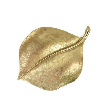 Trifari Gold Tone Leaf Brooch, Vintage Matte Gold Leafy Pin