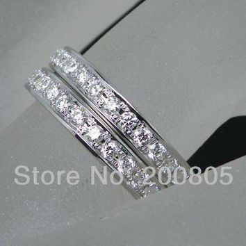 Vintage Solid 18K White Gold Brilliant Diamond Wedding Band,Wedding Rings For Sale F141
