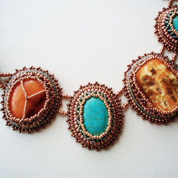 Magniphique necklace with old Amber and turquoise