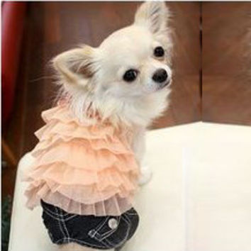 Pink Colored Cake Designed Skirt for Cute Dog's Clothing-Size Large
