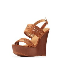 Laser-Cut Wedge Sandals | Charlotte Russe