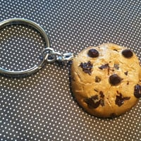 Chocolate Chip Cookie Key Chain, Polymer Clay Charm, Miniature Food