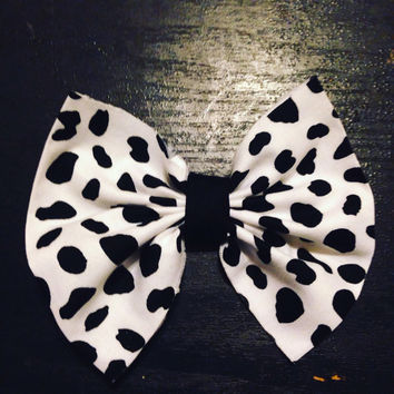 Handmade white and black hair bow-Animal print hair bow-Hair Accessories