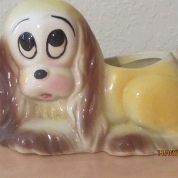 Vintage Hull Pottery Sad Eyes Puppy Planter Flower Pot Cocker Spaniel Hull Pottery Art Deco