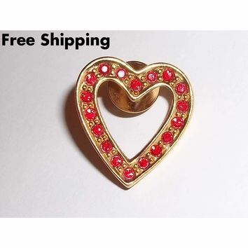 Vintage Signed Avon 1992 Sparkling Red Heart Gold Tone Brooch / Pin
