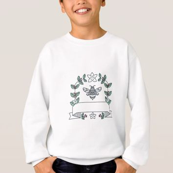 Bumblebee Coffee Leaves Cherries Flower Mono Line Sweatshirt