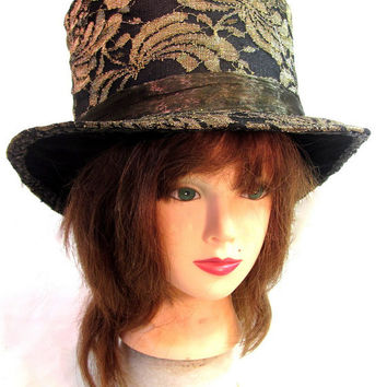 Gold Lace Top Hat with Wire Edge Brim