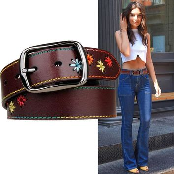 Handmade Flower Wide Leather Belt Simple Wild Style [2974245007]