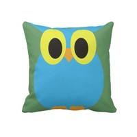 Blue Owl American MoJo Pillow from Zazzle.com