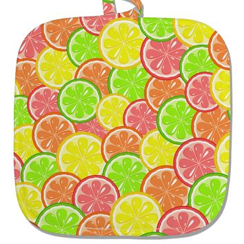 Colorful Citrus Fruits White Fabric Pot Holder Hot Pad All Over Print