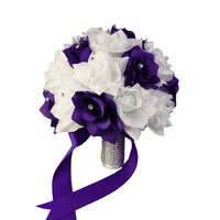 "10"" Bouquet-White and Purple"