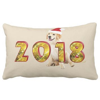 Cute Festive Dog 2018 Lumbar Pillow