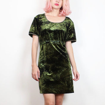 Vintage 1990s Dress Olive Green Crushed Velvet Dress Clueless Babydoll Ribbon Mini Dress 90s Soft Grunge Soft Goth Dolly Dress L Large XL