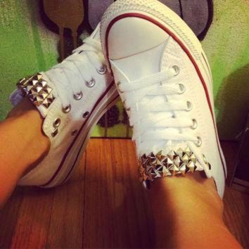 CREYUG7 Studded Custom White Low Converse All Star - Chuck Taylors! ALL SIZES & COLORS!!
